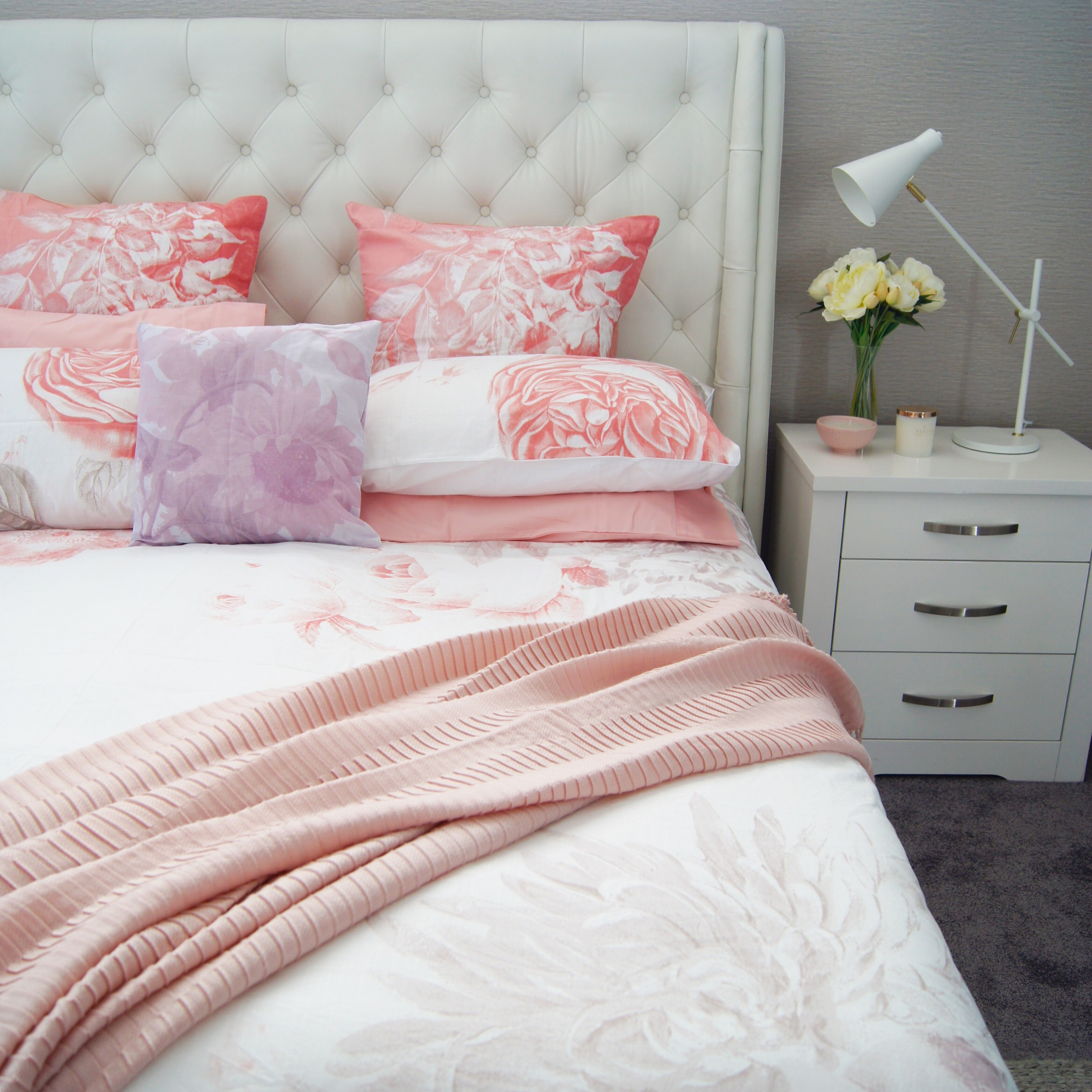 iu0027ve styled it above with the cotton pillowcases in pink and calais throw in blush if this is too much pink for your partner then simply go for a different